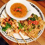 Clients Chicken Skewers with Satay Sauce and Fried Noodles