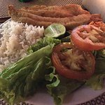 Daily special: deep-fried fish, salad and rice