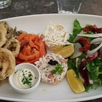 Seafood platter (Fried squid, mussles and whitebait) smoked salmon, crab/shrimp mayo, coleslaw