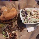 Brisket sandwich and cole slaw