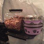 Dog treats and dog bowls