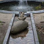 Frog water feature in the walled garden