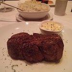 Main filet mignon w truffle parsley potatoes in background
