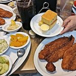 Three closest - 2 Catfish Fillets, 2 Cornbread, Cole Slaw, Cucumber Salad, Peaches, & 20 ounce d