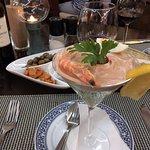 Starter - prawn cocktail and couvert - olives, garlic carrots & sardine pate