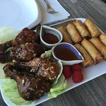 "Chicken ""Wings"" w/ Spring Rolls"