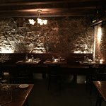 The cozy dining room at the Black Trumpet Bistro