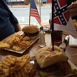 Our meal with the 2 flags