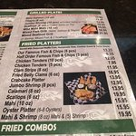 Menu items for fried platters