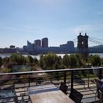 A view of the river and the John A. Roebling Suspension Bridge from the upper level.