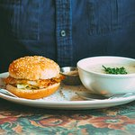 The fish burger with a side of seafood chowder