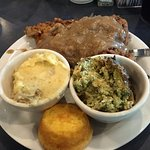 Country Fried Steak, Brocoli Casserole, Mashed Potatoes and Cornbread