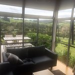 lounge and private deck overlooking the vineyard