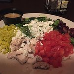 Greek salad or veggie, olive, and cheese platter? Why mushrooms?