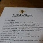 A sample of the menu