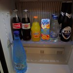 The inside of the complementary mini bar