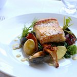Seabass with Pernod Stemmed Mussels