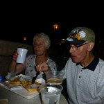 enjoying the fish and chips