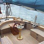 The classic spacious cockpit aboard the  Schooner* Arcturus*