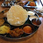 Sarvanna special meals has number of lentils , rice , chapati/puri,lemon rice , papad ,sweet ,et