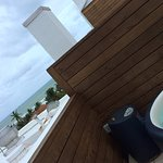 Private hot tub, partial view and the smell of italian cooking from the hotels restaurant.