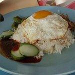 Nasi lemak with fried egg