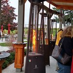 Heaters around the outdoor bar