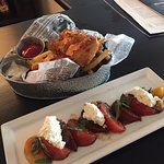 Heirloom tomato salad and fish and chips! Nicely presented