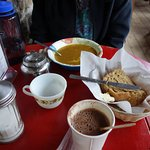 Lentil soup, bread,, great hot chocolate.