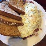 Eggs Overeasy w/ toast, side of fries, Chicken Ranch Club, Leonardo de Veggie well done w grille