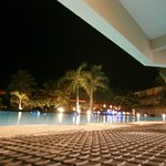 Pool at night from bar area