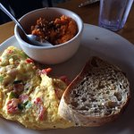 Sweet potatoes, omelet and wheat toast