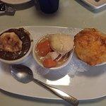 Strawberry Rhubarb pie, brownie, Strawberry Balsamic Chicken Flatbread Wrap, Pulled Pork Quesadi