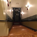 This is the main stairway up into the hotel rooms on the second floor.