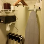 The closet, ice bucket, safe, and ironing board.