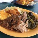 cornbread, catfish,beef stew, pulled pork, greens, cabbage