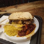 My chicken sandwich with rice and beans