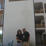 Me and my wife stading in front of the Hotel