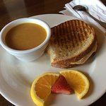 Butternut soup with grilled cheese sandwich