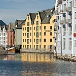 The seaside (Brosundet) in Aalesund has been taken over by hotels (Bryggen is the yellow one)