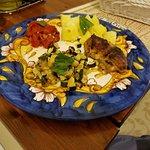 Mixed vegetables: zucchine, eggplant (melanzana), potatoes, roast peppers, eggplant parmigiana