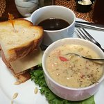 French dip and clam chowder
