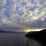 Sunrise over the Saguenay River, view from the room
