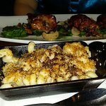 Quail stuffed with mushroom risotto and mac & cheese