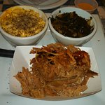 Pulled Pork platter with mac & cheese, turnip greens