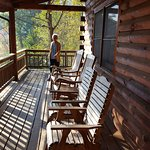 Mom walking the wrap-around porch at the Black Bear Lodge.
