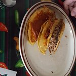 """dirty tacos"" (soft corn tacos fried on a bed of cheese). I had stolen my DH's posole..."