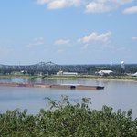 View of the river at Natchez with river barge