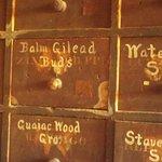 drawers of herbs, nice printing huh?