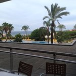 1st floor, sea view, overlooking pool, ample space on terrace, table and 4 chairs